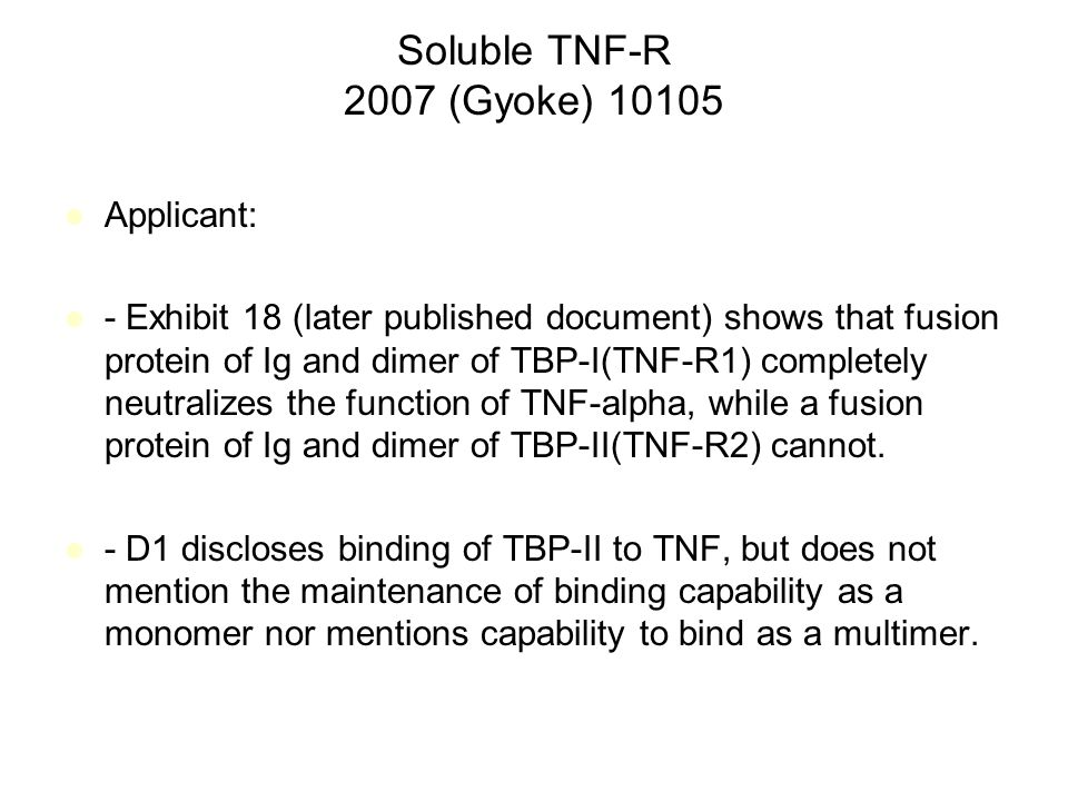 Soluble TNF-R 2007 (Gyoke) 10105 Applicant: