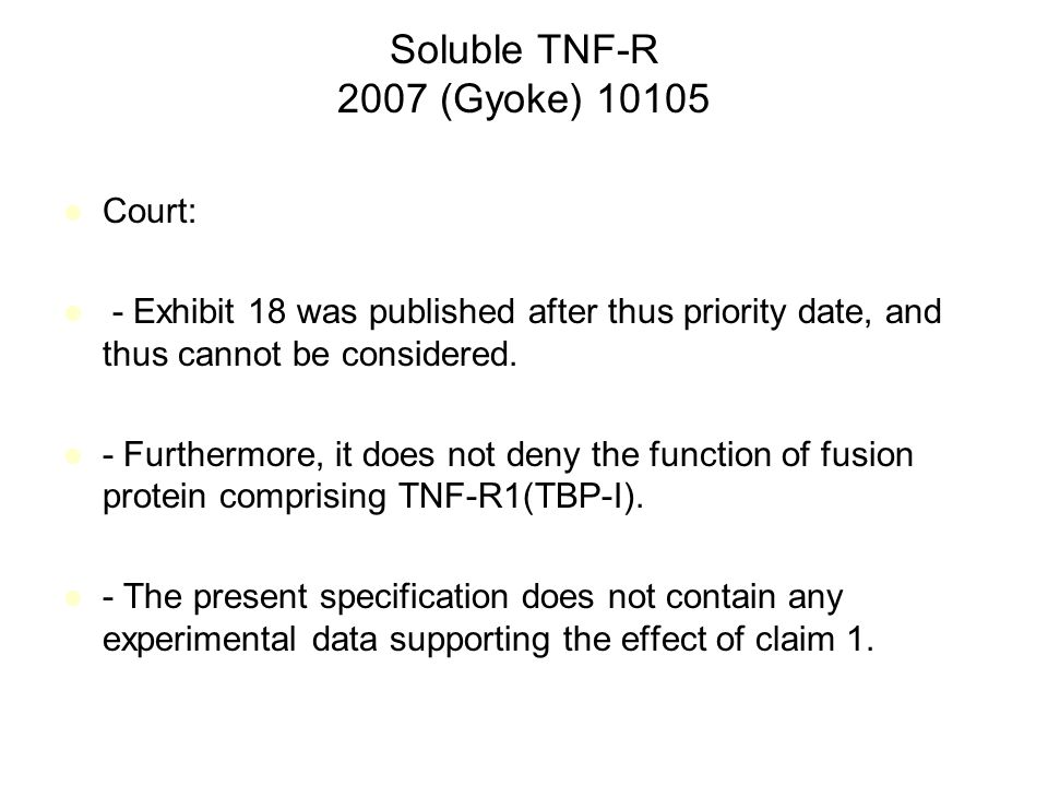 Soluble TNF-R 2007 (Gyoke) 10105 Court: