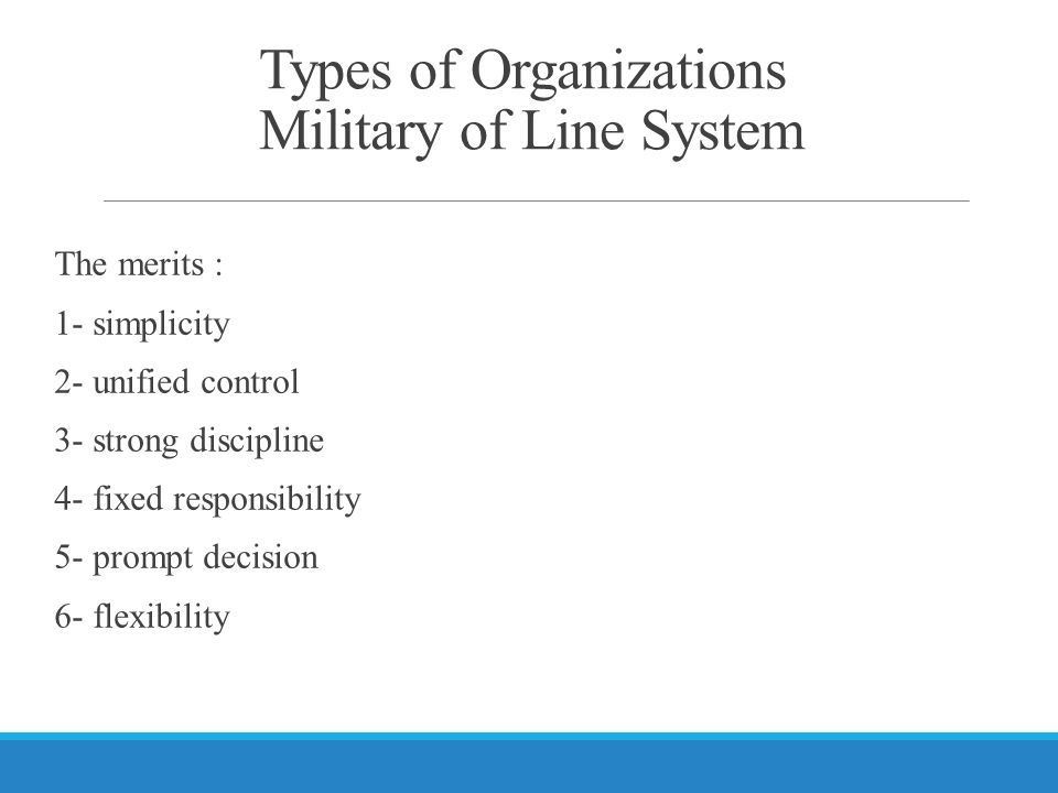 Types of Organizations Military of Line System