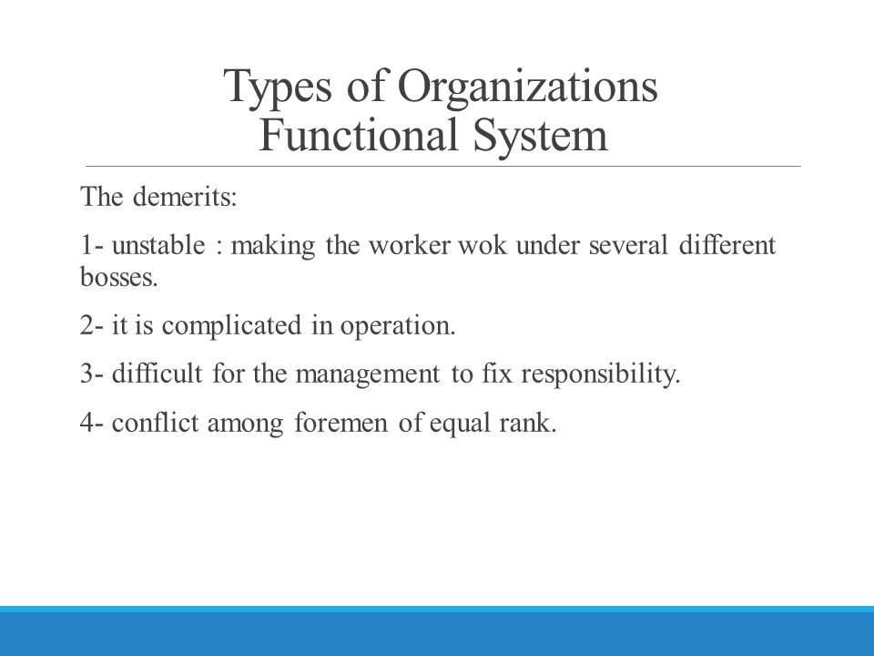 Types of Organizations Functional System