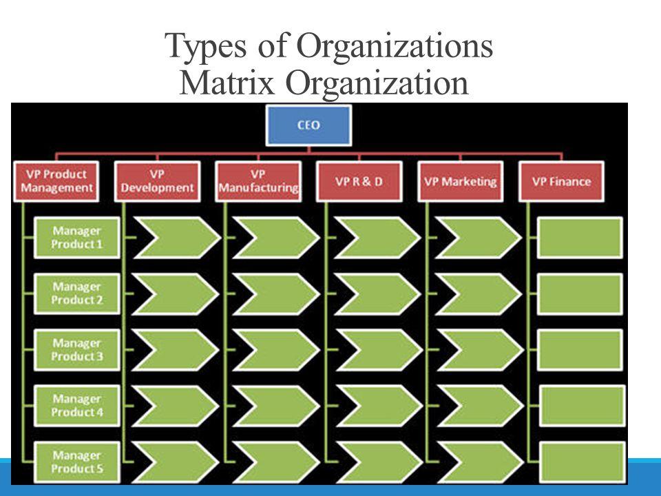 Types of Organizations Matrix Organization