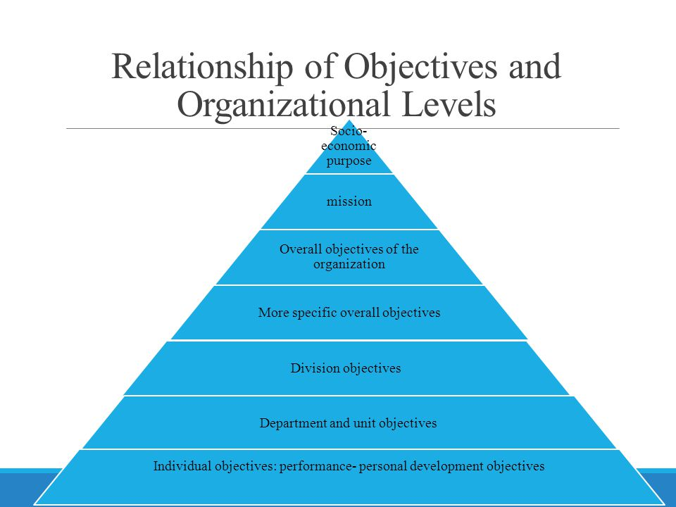 Relationship of Objectives and Organizational Levels
