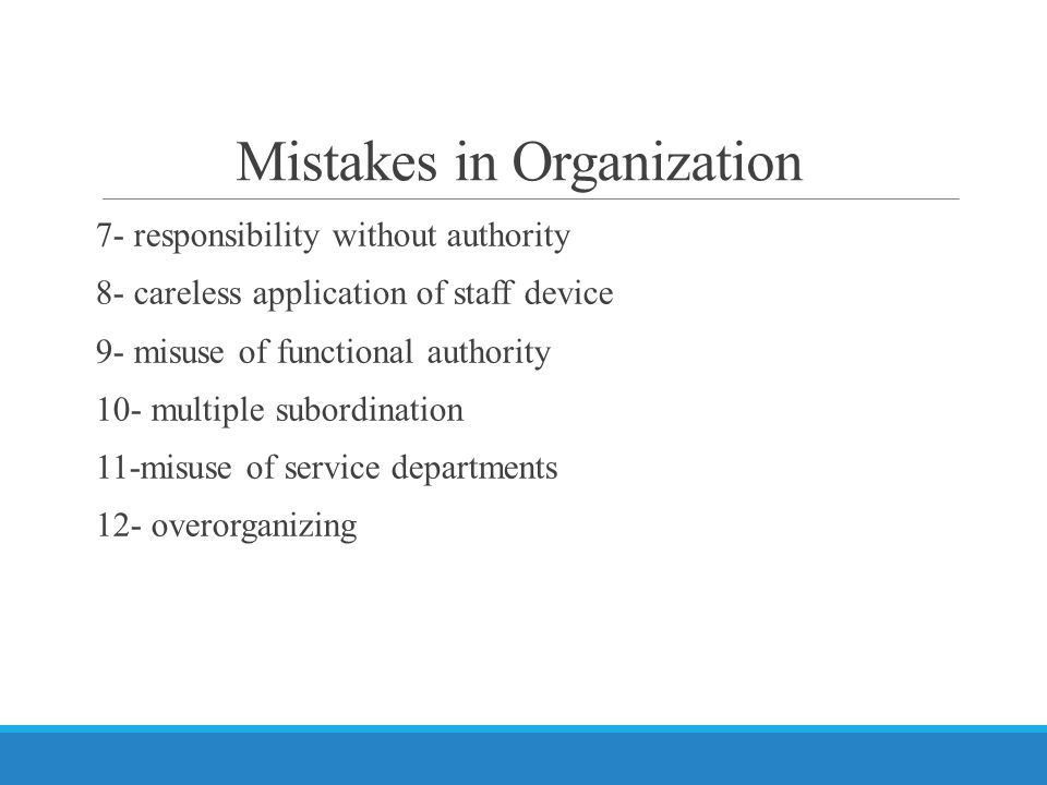 Mistakes in Organization