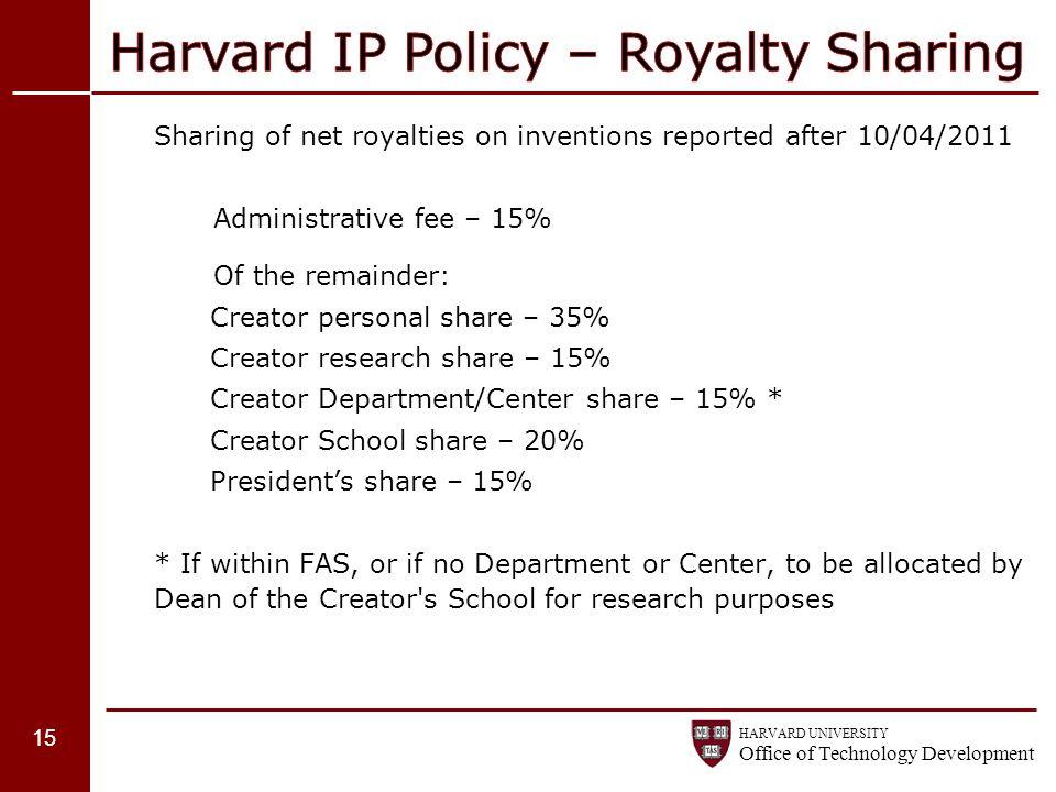 Harvard IP Policy – Royalty Sharing