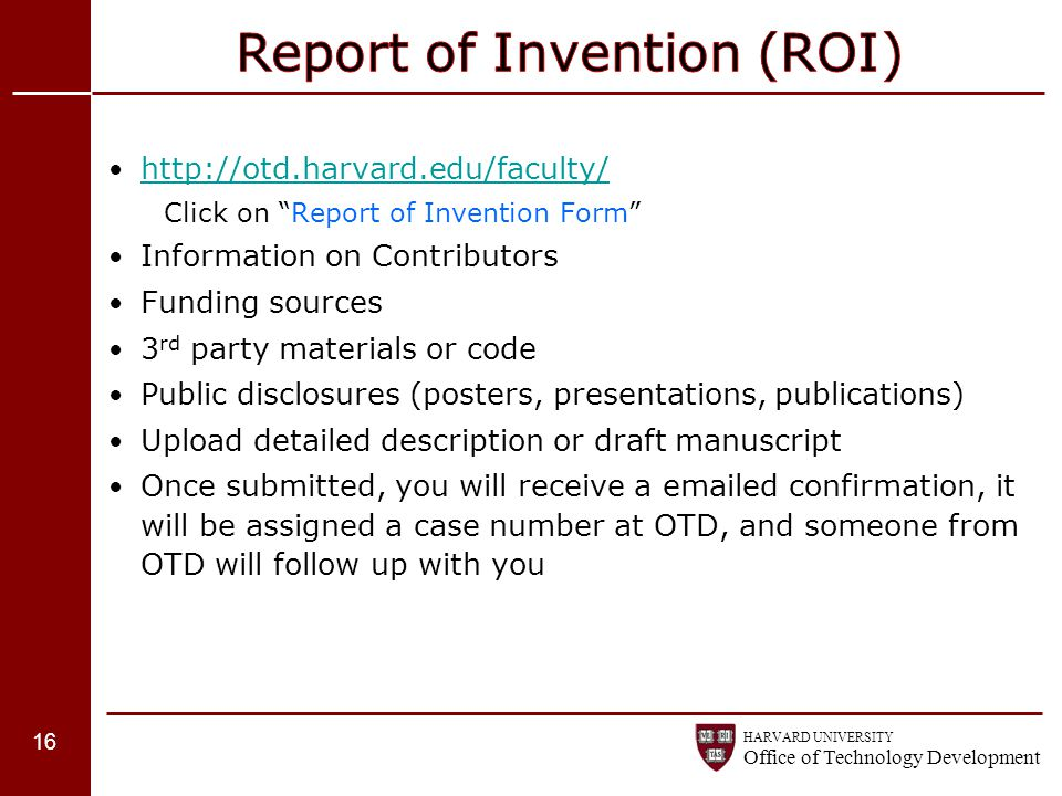 Report of Invention (ROI)