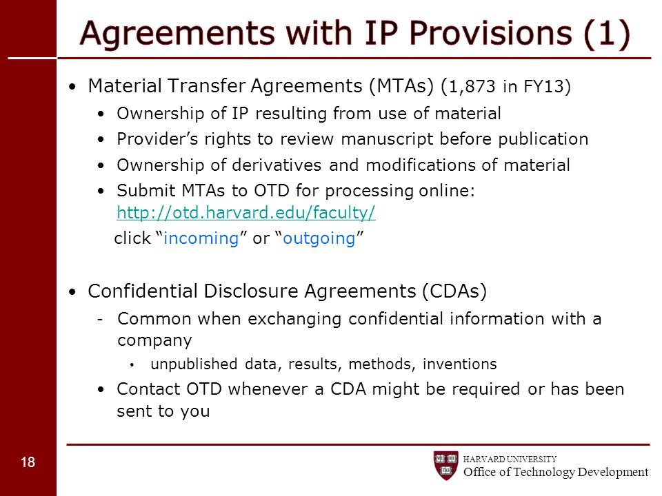 Agreements with IP Provisions (1)