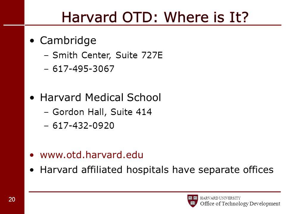 Harvard OTD: Where is It