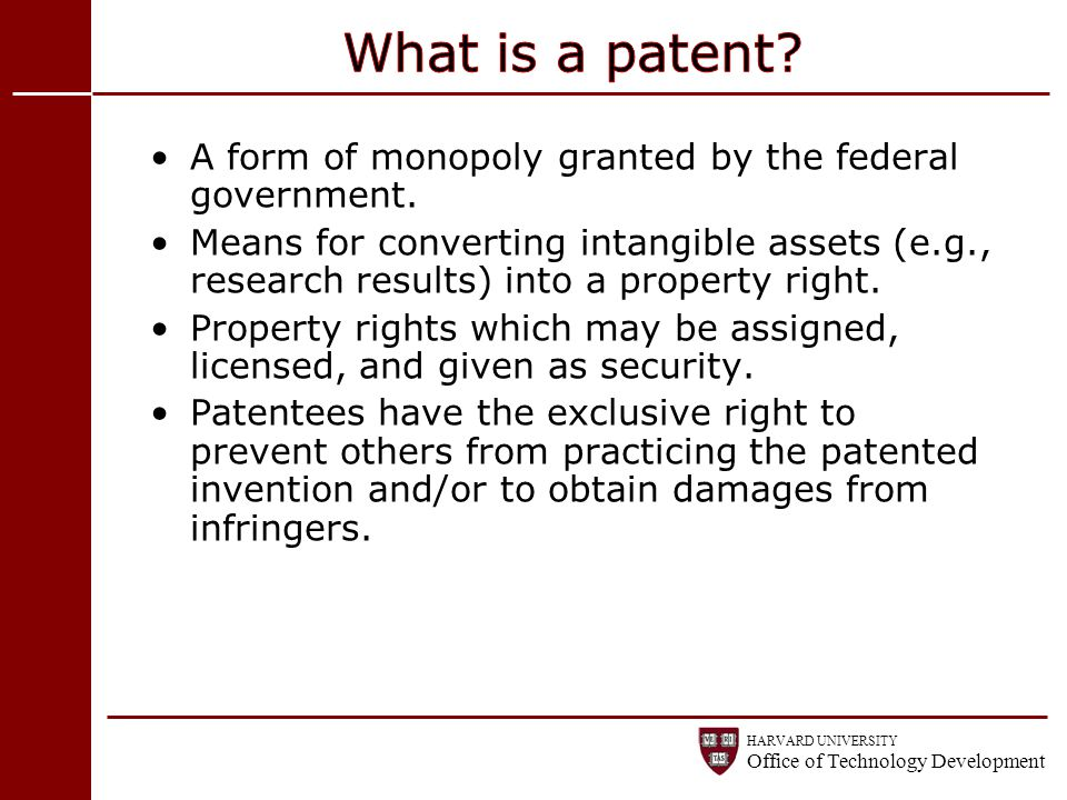 What is a patent A form of monopoly granted by the federal government.