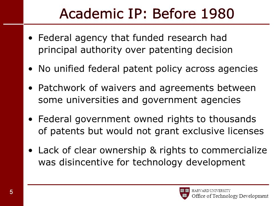 Academic IP: Before 1980 Federal agency that funded research had principal authority over patenting decision.