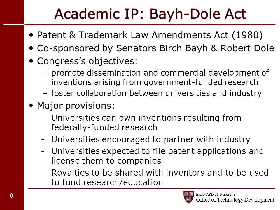 Academic IP: Bayh-Dole Act