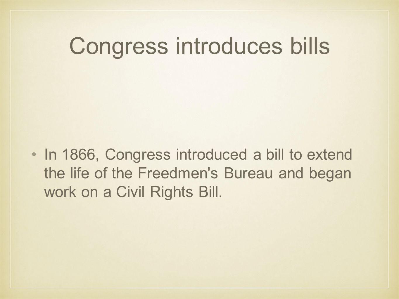 Congress introduces bills