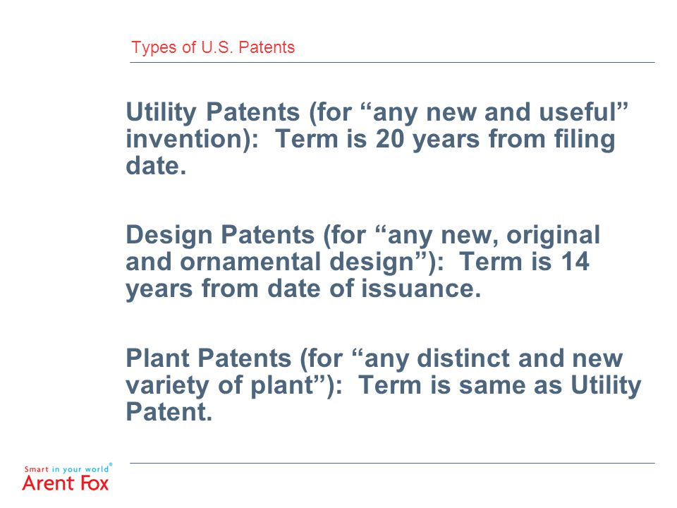 Types of U.S. Patents Utility Patents (for any new and useful invention): Term is 20 years from filing date.