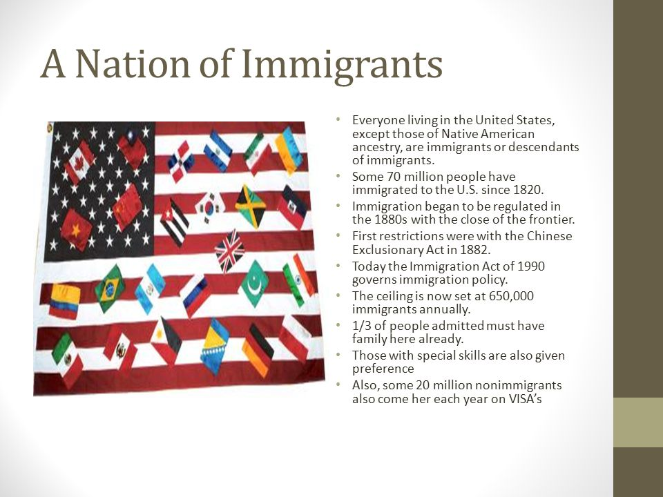 A Nation of Immigrants Everyone living in the United States, except those of Native American ancestry, are immigrants or descendants of immigrants.