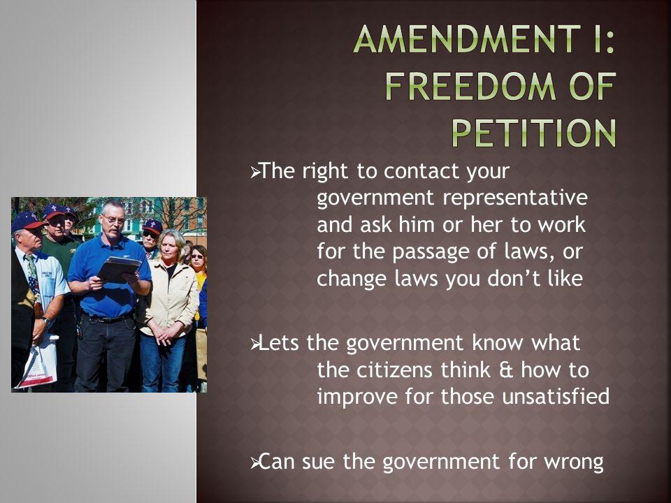 Amendment I: Freedom of Petition