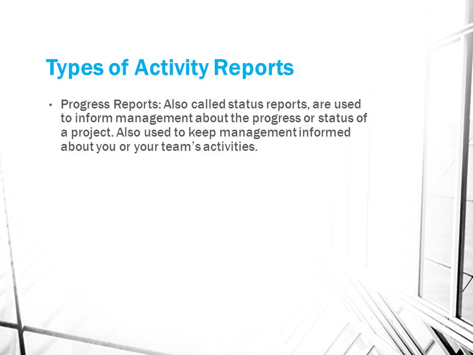 Types of Activity Reports