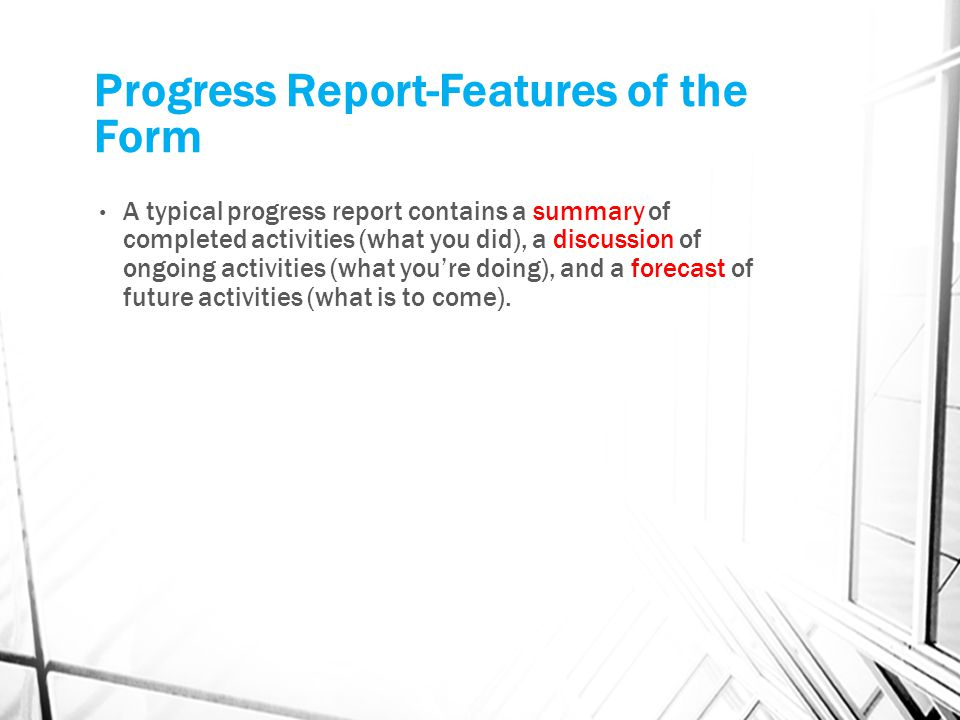 Progress Report-Features of the Form