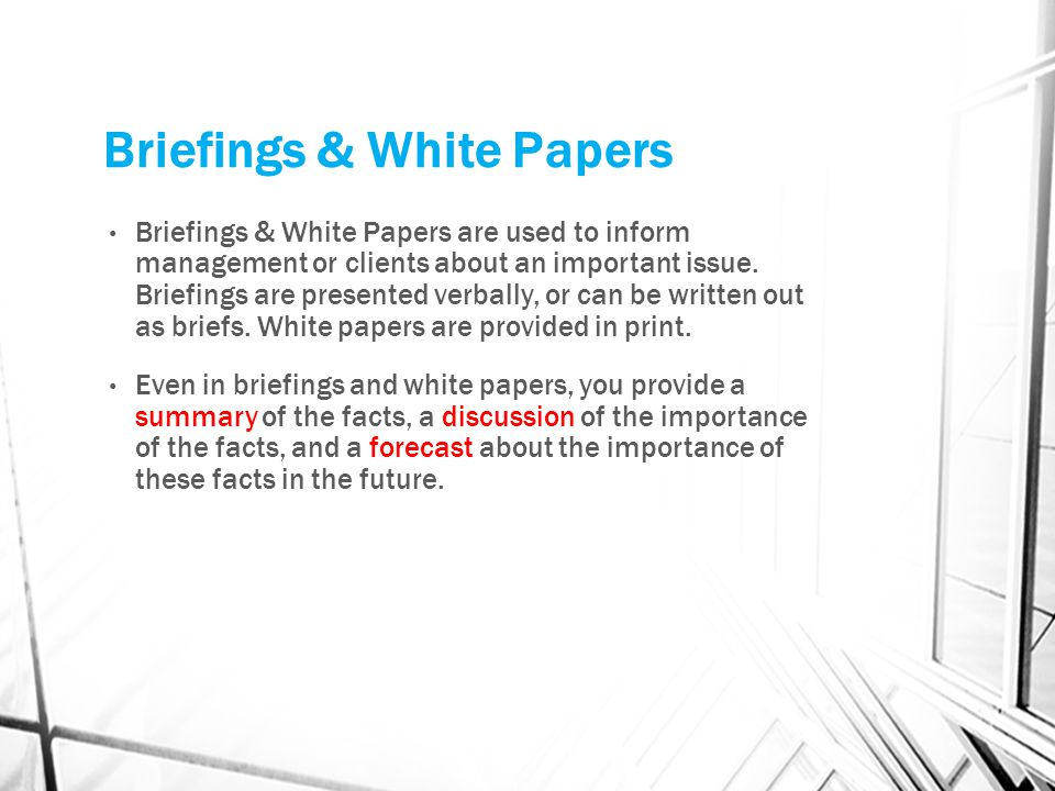 Briefings & White Papers