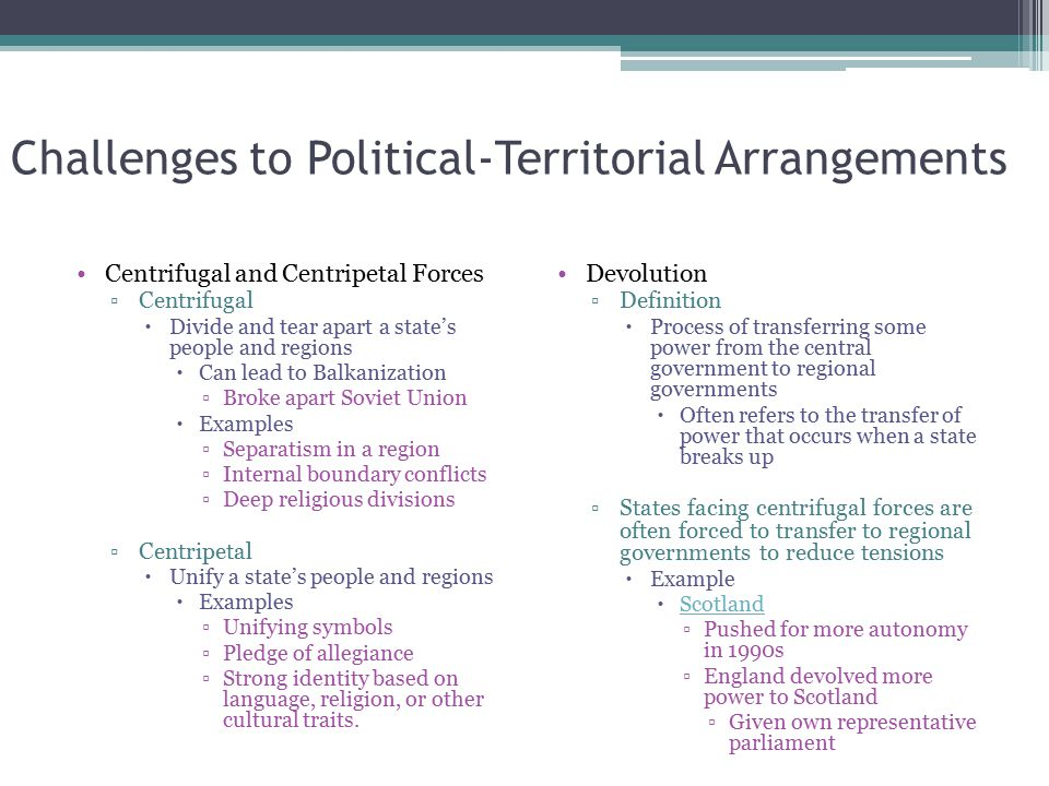 Challenges to Political-Territorial Arrangements