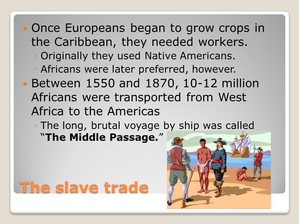 Once Europeans began to grow crops in the Caribbean, they needed workers.