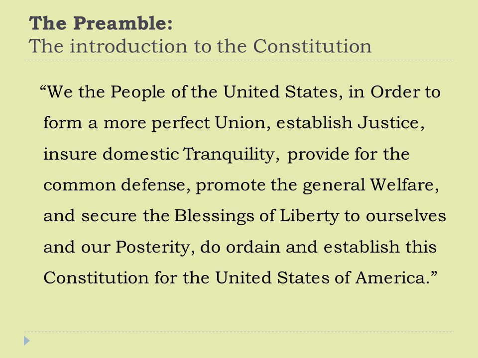 The Preamble: The introduction to the Constitution