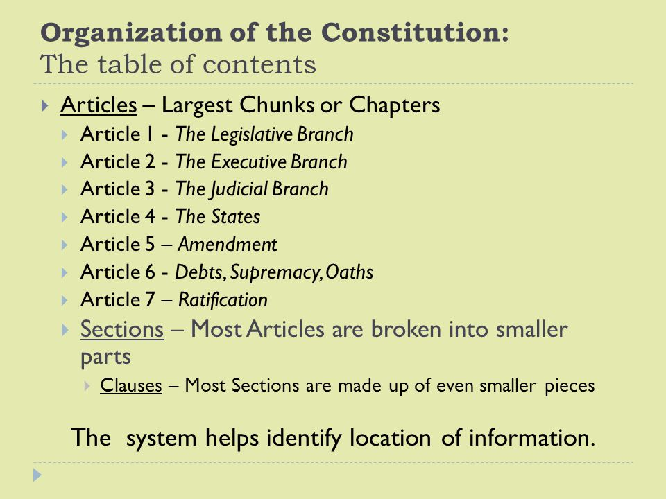 Organization of the Constitution: The table of contents