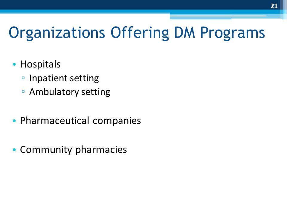 Organizations Offering DM Programs
