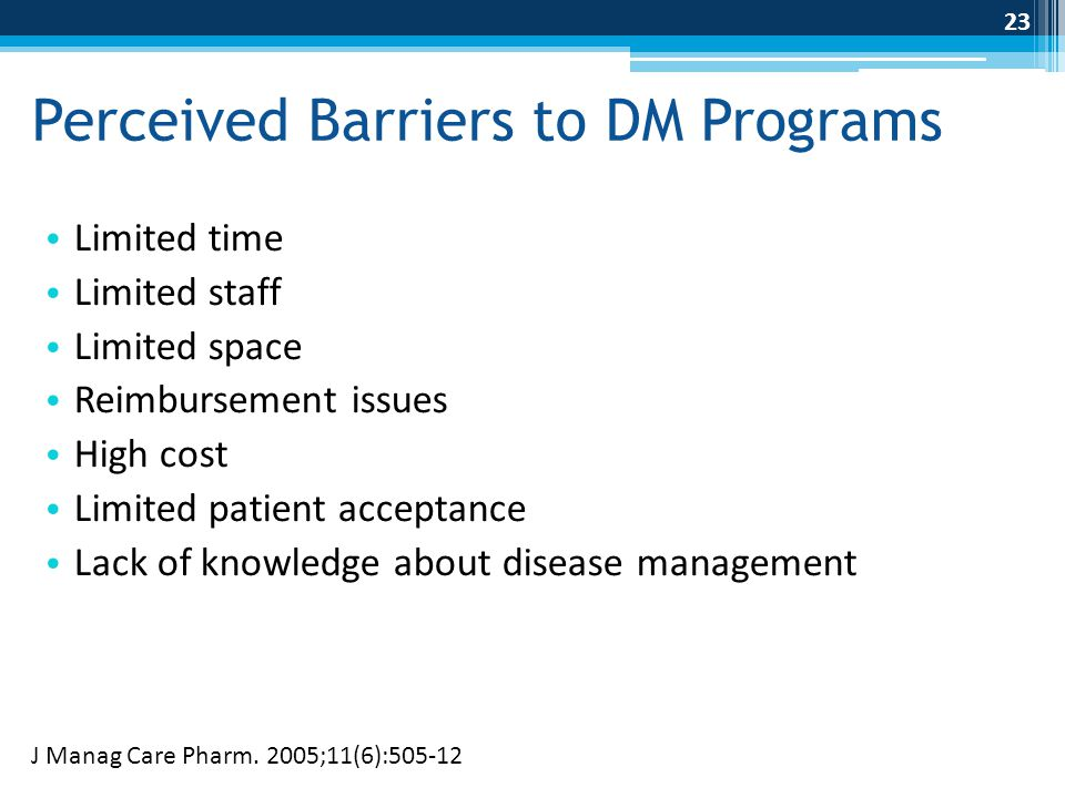 Perceived Barriers to DM Programs