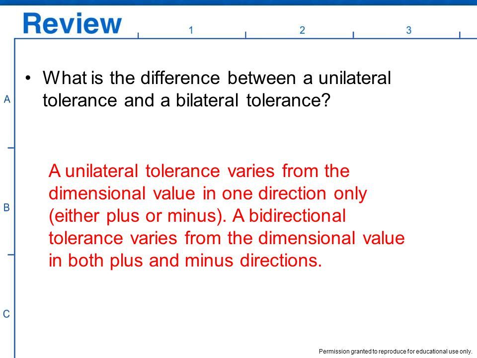 What is the difference between a unilateral tolerance and a bilateral tolerance