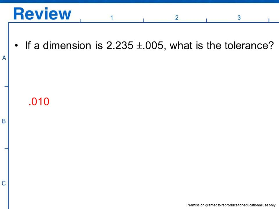 If a dimension is 2.235 .005, what is the tolerance