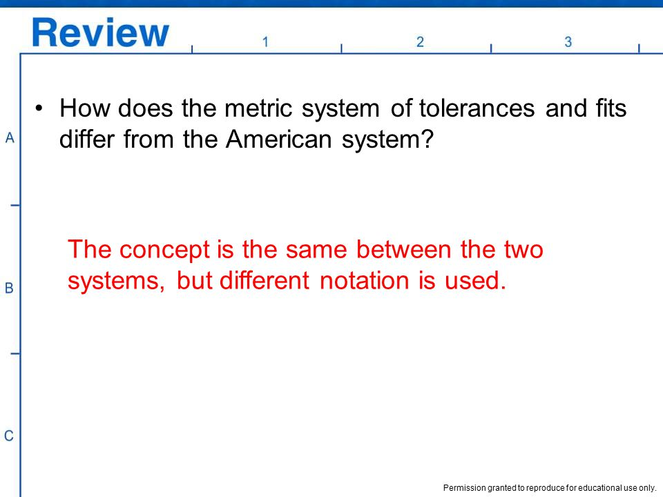 How does the metric system of tolerances and fits differ from the American system