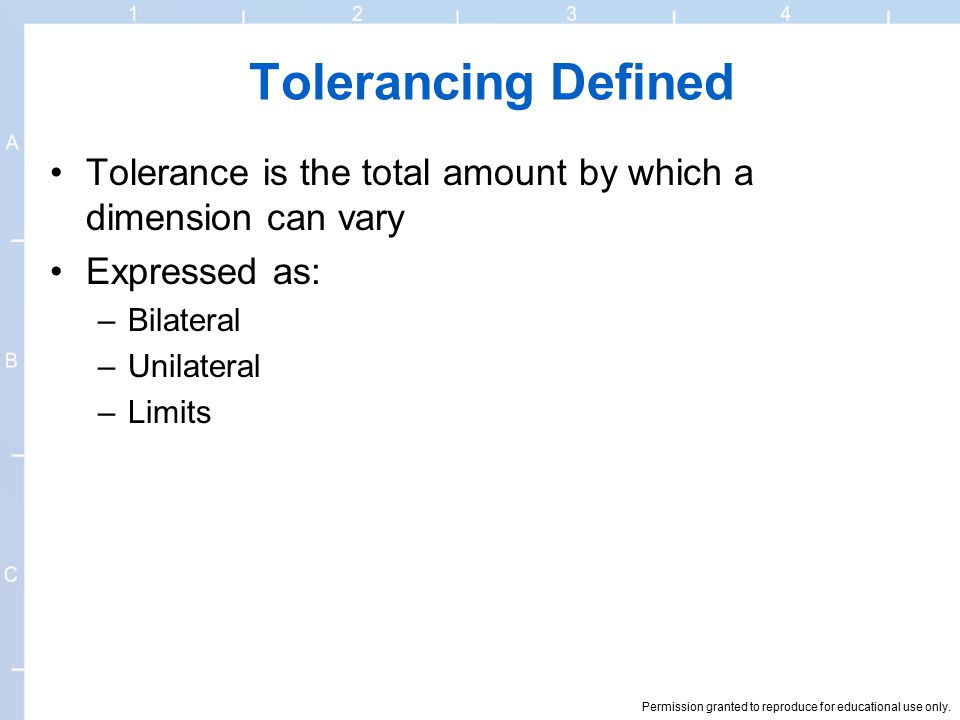 Tolerancing Defined Tolerance is the total amount by which a dimension can vary. Expressed as: Bilateral.