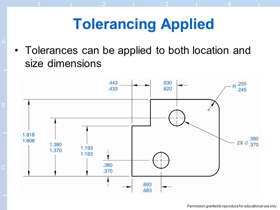 Tolerancing Applied Tolerances can be applied to both location and size dimensions