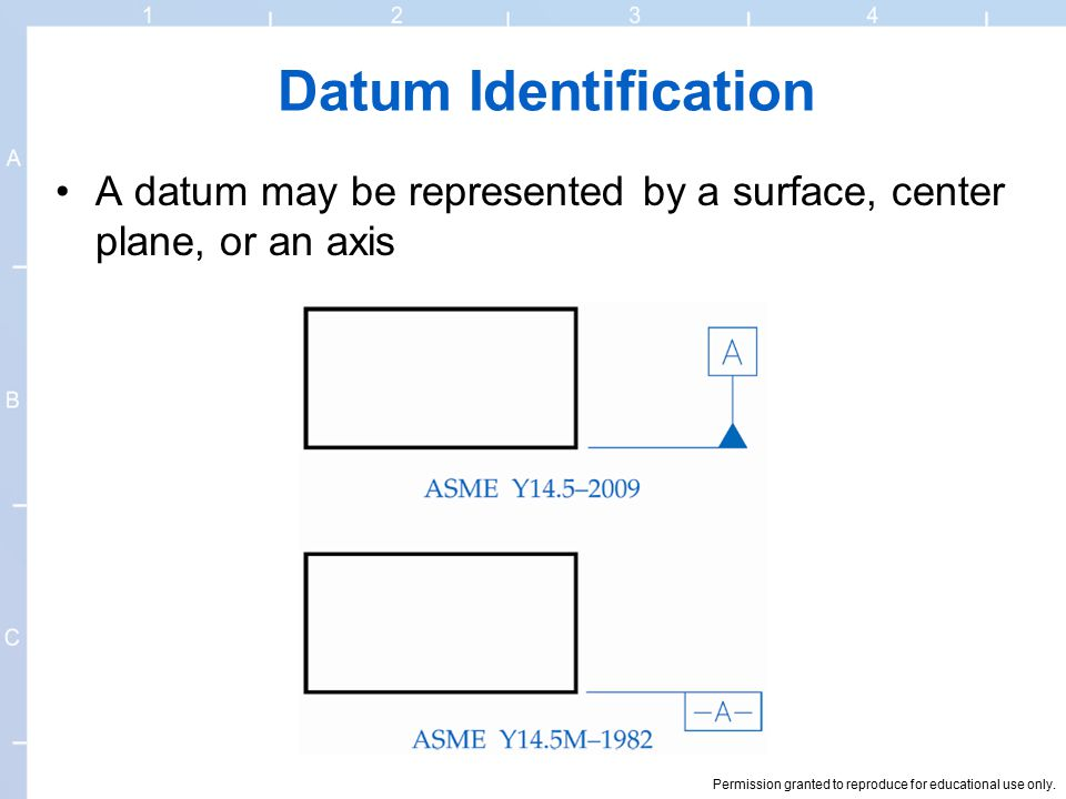 Datum Identification A datum may be represented by a surface, center plane, or an axis