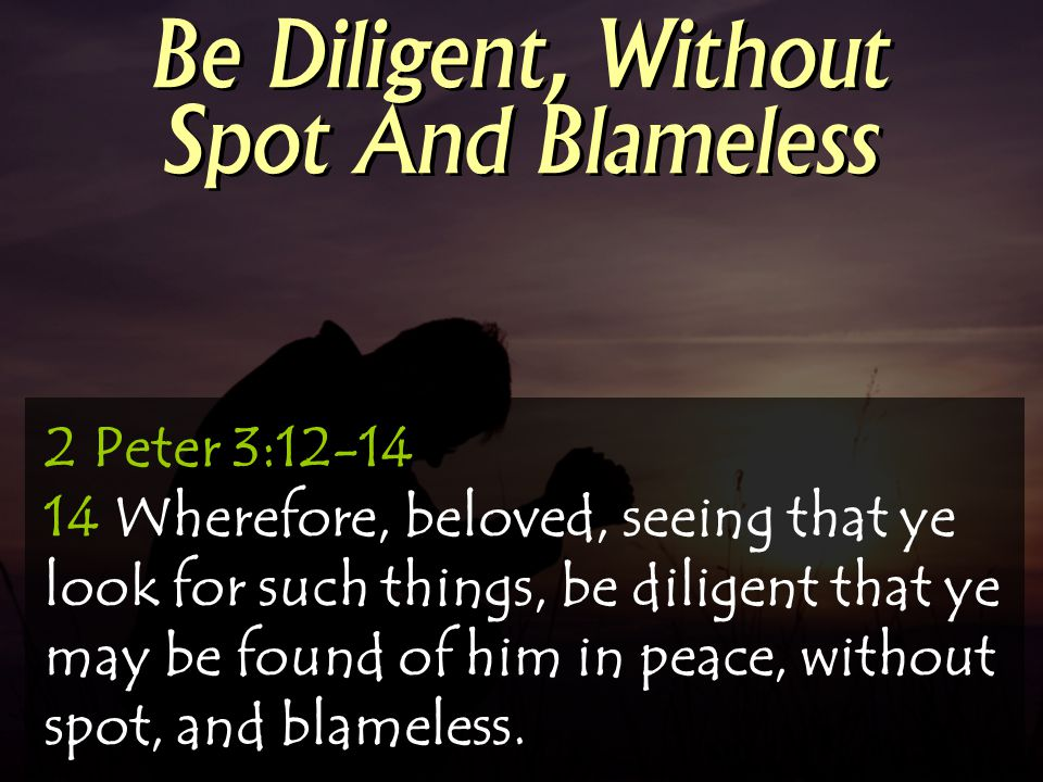Be Diligent, Without Spot And Blameless