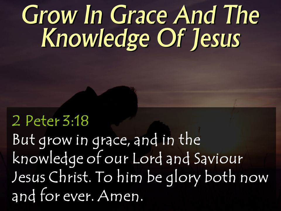 Grow In Grace And The Knowledge Of Jesus