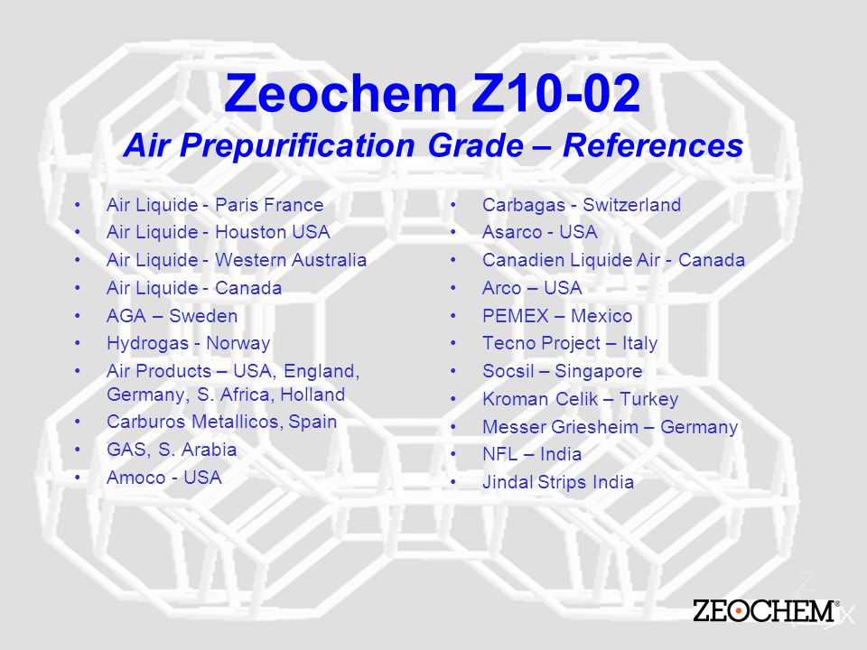 Zeochem Z10-02 Air Prepurification Grade – References