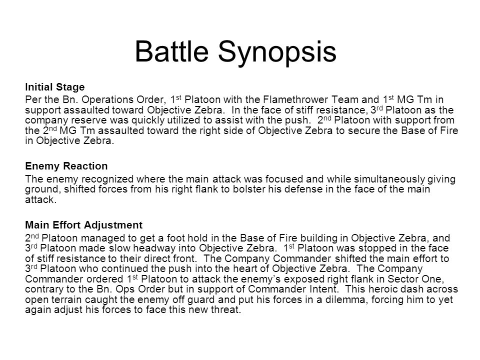 Battle Synopsis Initial Stage