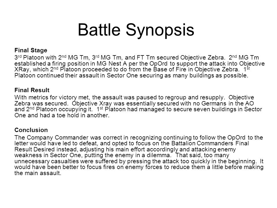 Battle Synopsis Final Stage