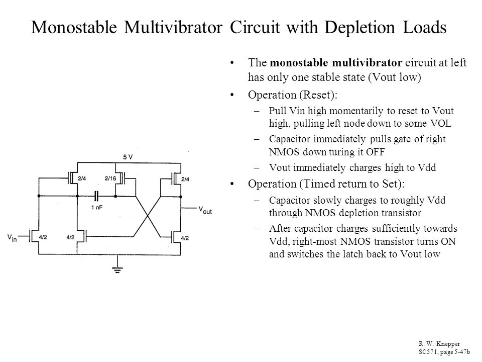 Monostable Multivibrator Circuit with Depletion Loads