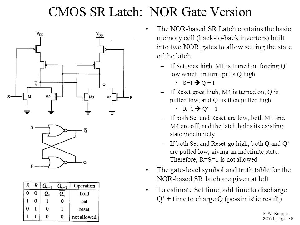 CMOS SR Latch: NOR Gate Version