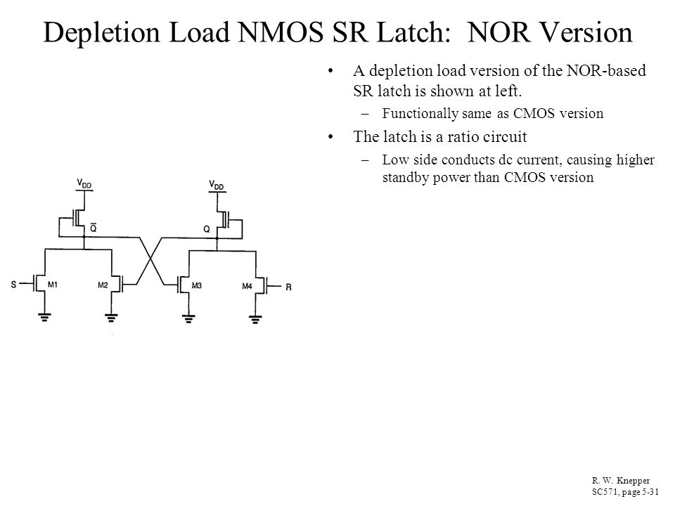 Depletion Load NMOS SR Latch: NOR Version