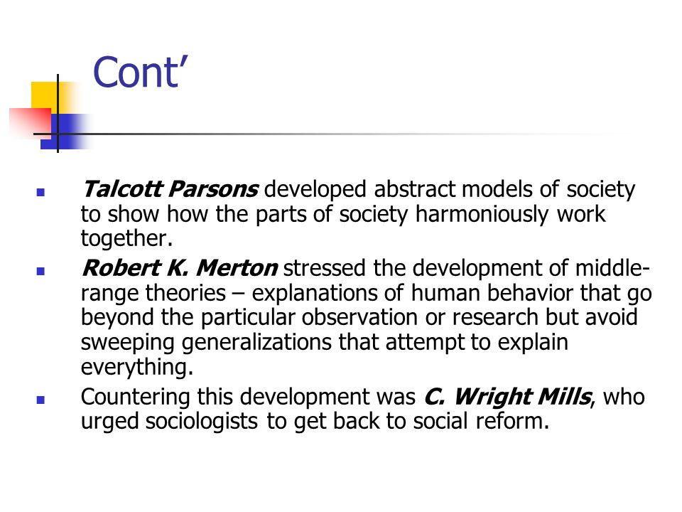 Cont' Talcott Parsons developed abstract models of society to show how the parts of society harmoniously work together.