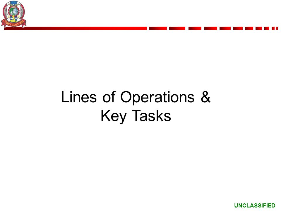 Lines of Operations & Key Tasks