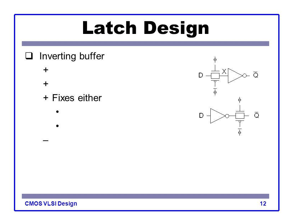 Latch Design Inverting buffer + + Fixes either