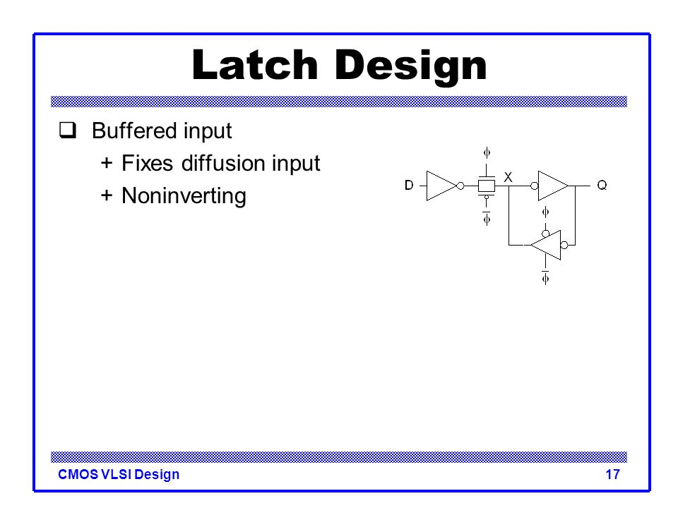 Latch Design Buffered input + Fixes diffusion input + Noninverting