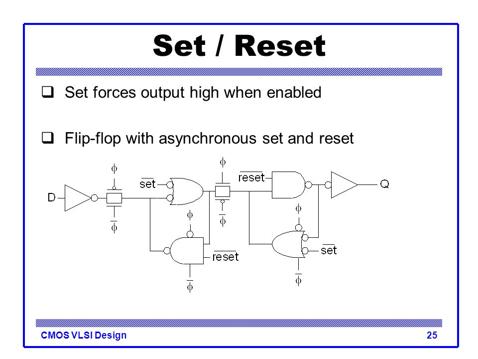 Set / Reset Set forces output high when enabled