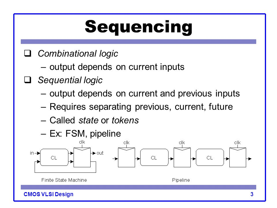 Sequencing Combinational logic output depends on current inputs