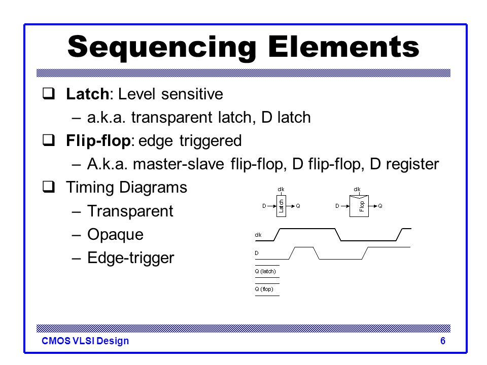 Sequencing Elements Latch: Level sensitive