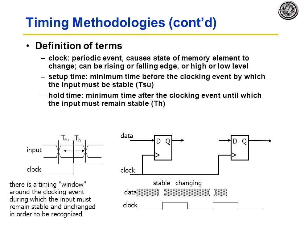 Timing Methodologies (cont'd)