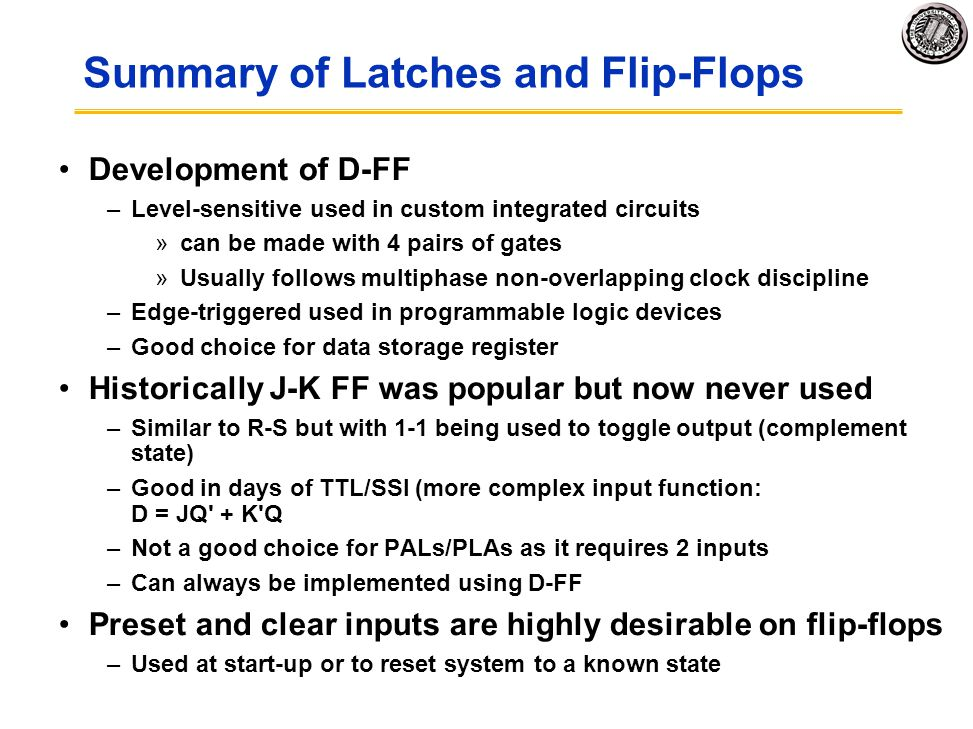 Summary of Latches and Flip-Flops